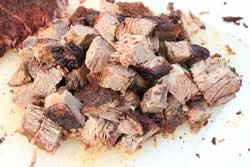 Brisket point cut into cubes