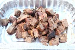 brusket cubes placed into pan