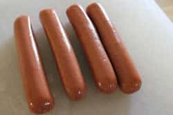 Hotdogs removed from package
