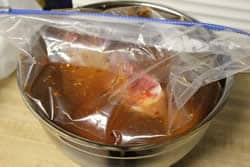 Brine and turkey legs into ziploc