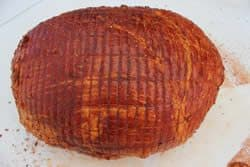 Ham rubbed with mustard and rub