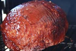 Ham glazed with Jeff's sauce, honey and peach nectar