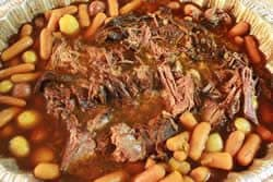 Smoked chuck roast with potatoes and carrots