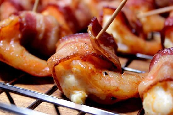 Smoked Shrimp - Stuffed and Bacon Wrapped