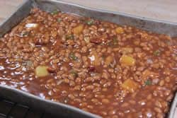 Dutch's Wicked Baked Beans ready for smoker