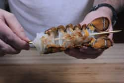 Lobster tail skewered