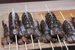 Lobster tails skewered