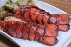Plated smoked lobster tail