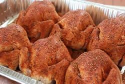 Apply rub to top, bottom and sides of cornish hens