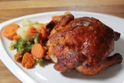 Smoked cornish hens served