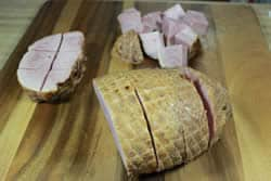 Cut ham into chunks