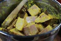 Apply mustard to ham chunks