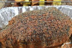 Coarse pepper on ham