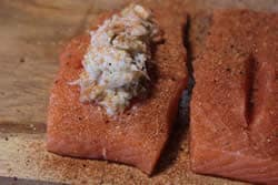 Add my rub to the salmon and stuffing mixture