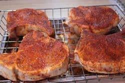 Pork chops on Bradley rack