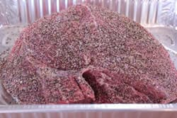 Beef sirloin tip roast with salt and pepper mixture