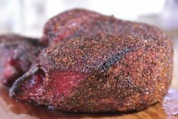 Closeup of beef sirloin tip roast after reverse searing