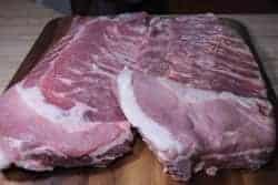 Pork spare ribs on cutting board