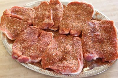 Pork chops coated with Jeff's rub