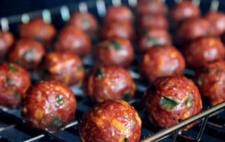 Smoked Meatballs Filled with Cream Cheese