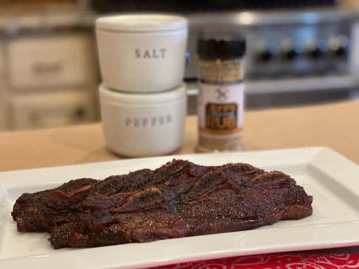 smoked crosscut beef ribs ready to serve!