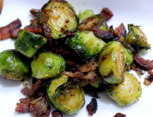 Smoked Brussel Sprouts with Bacon & Onions