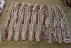 Laying out the bacon