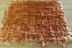Apply rub to bacon weave
