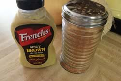 French's Spicy mustard and Jeff's Naked Rib Rub