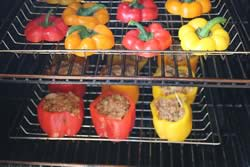 Stuffed peppers in smoker