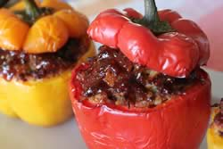 Barbecue sauce on the peppers