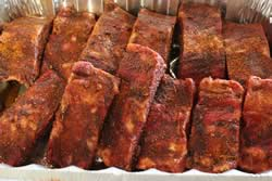 Beef ribs covered with Jeff's rub