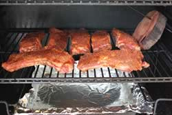 Ribs laid out on the grate