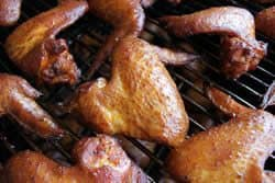 Close-up of chicken wings finished cooking