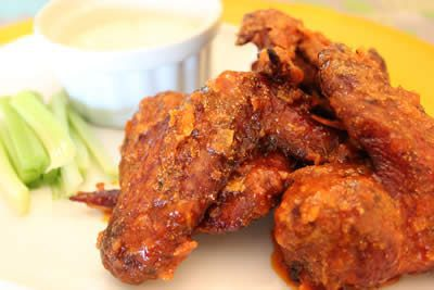 Smoked and Fried hot wings served up