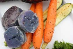 Carrots, squash and purple potatoes