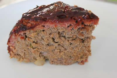 Meatloaf sliced into a wedge of happiness