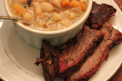 Smoked Chuck Roast with Bean Soup