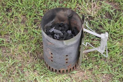 Fill charcoal chimney with charcoal