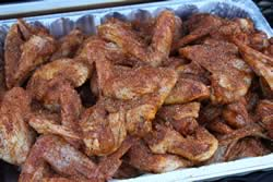 Dump wings back into foil pan for easy access