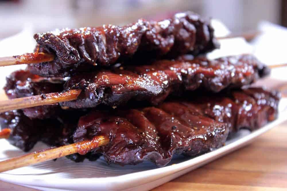 smoked pork tenderloin on a stick
