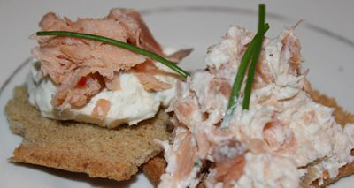 Salmon spread with cream cheese and chives