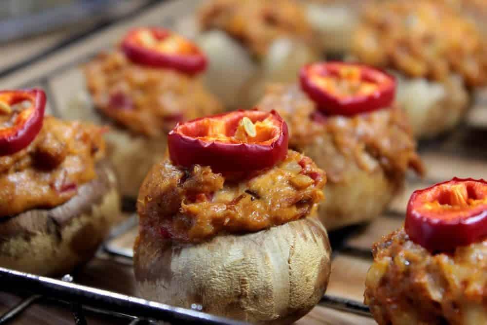 smoked stuffed mushrooms