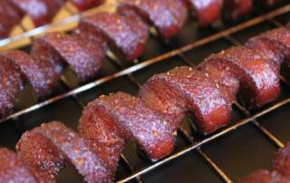 spiral cut smoked hotdogs